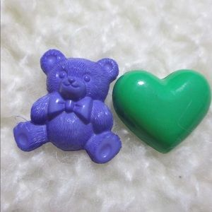 Vintage Plastic Pins Brooches Teddy Bear and Heart